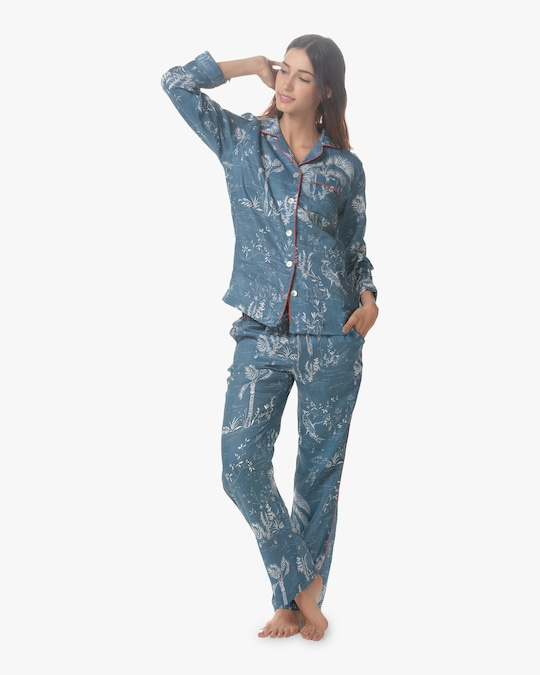 The Lazy Poet Emma Classic Linen Long Pajama Set 0