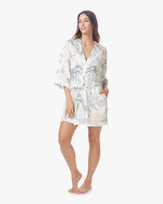 The Lazy Poet Lola Linen Belted Robe 0