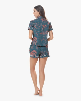 Nina Linen Short Sleeve Short Pajama Set