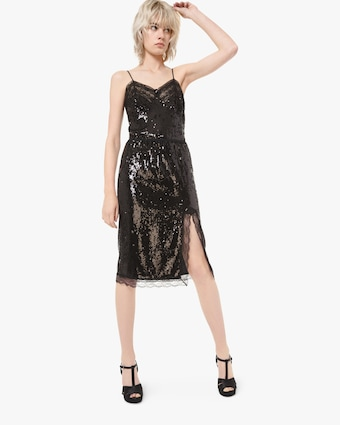 Paillette Lace Slip Dress