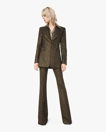 Metallic Wool Flare Trouser