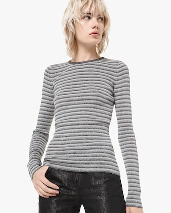 Metallic Ribbed Top