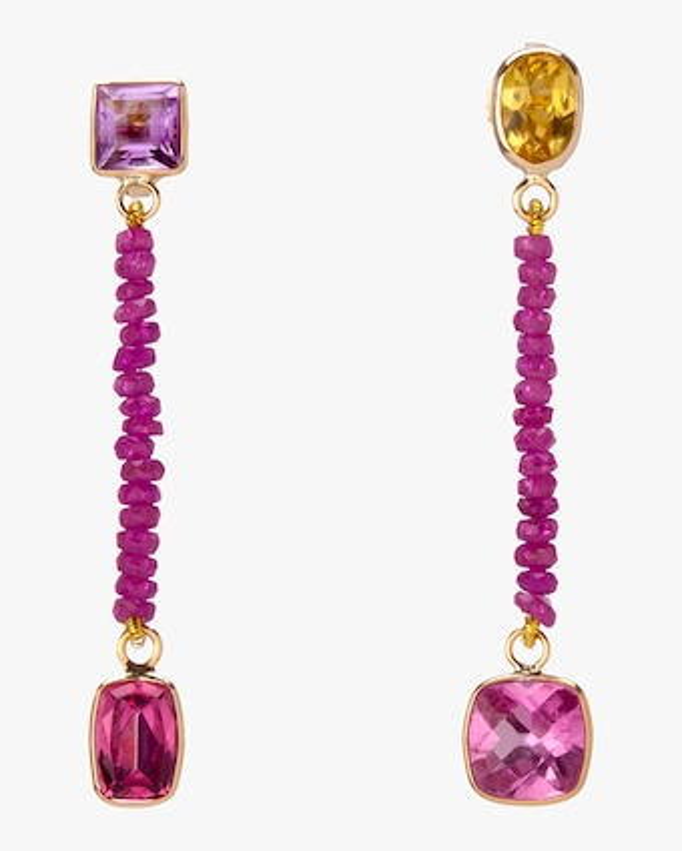 objet-a Hot Pink Ruby Bead Earrings 1