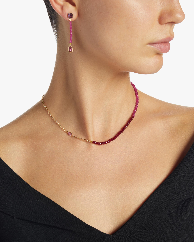 objet-a Hot Pink Ruby Bead Earrings 2