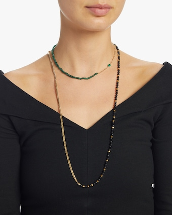 Black Onyx Curb Chain Necklace