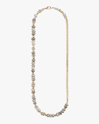 Sapphire and Gold Beads Curb Chain Necklace