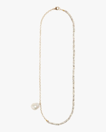 Sapphire and Baroque Pearl Cable Chain Necklace