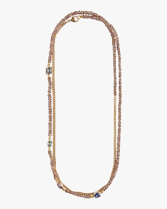 Champagne Sapphire Curb Chain Necklace