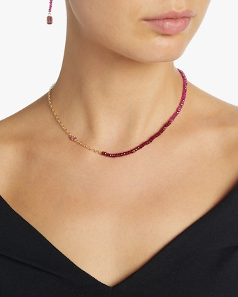 Multi Color Ruby Cable Chain Necklace
