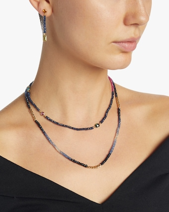 Ombre Blue Sapphire Curb Chain Necklace