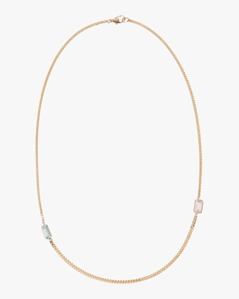 Aquamarine and Morganite Curb Chain Necklace