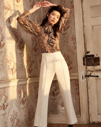 Pintuck Cropped Trousers