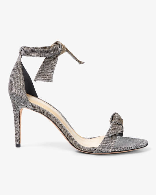 Alexandre Birman Clarita Mid-Heel Metallic Fabric Sandals 0