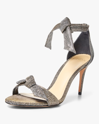 Clarita Mid-Heel Metallic Fabric Sandals