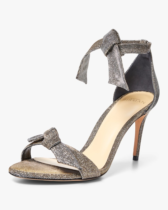 Alexandre Birman Clarita Mid-Heel Metallic Fabric Sandals 1
