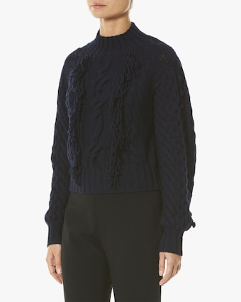 Hand-Fringed Cable-Knit Sweater