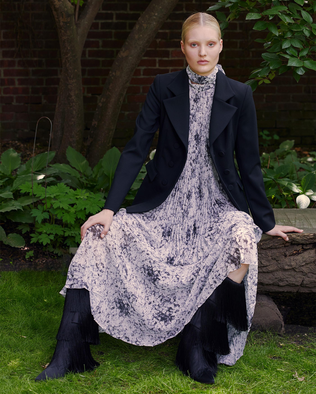 Bow Neck Pleated Chiffon Dress