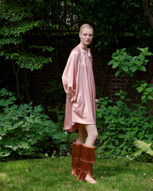 Pintuck Silk Charmeuse Dress