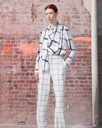 Windowpane Silk Blouse