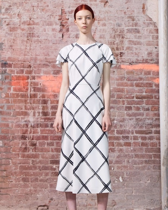 Windowpane Silk Day Dress