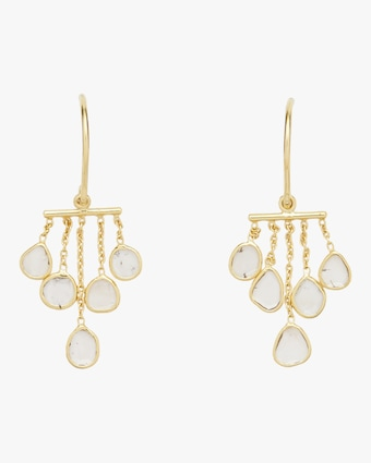 Polki Diamond Slice Bar Chandelier Earrings