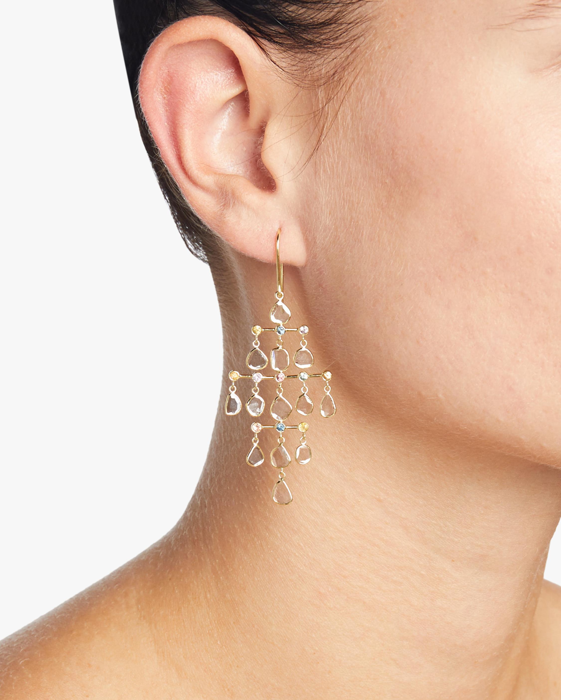 Legend Amrapali Polki Diamond & Rainbow Sapphire Slice Chandelier Earrings 2