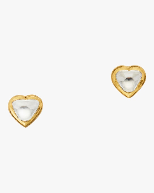 Legend Amrapali Kundan Vintage Diamond Heart Stud Earrings 0