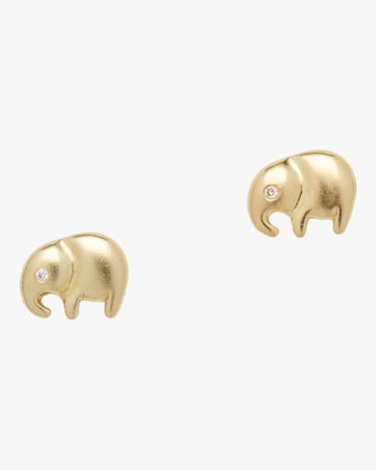 Lucky Elephant Diamond Stud Earrings