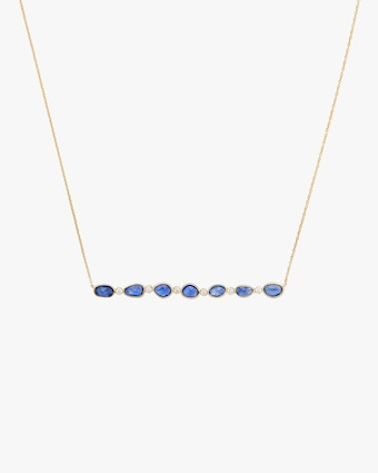 Rashmika Diamond & Blue Sapphire Bar Necklace