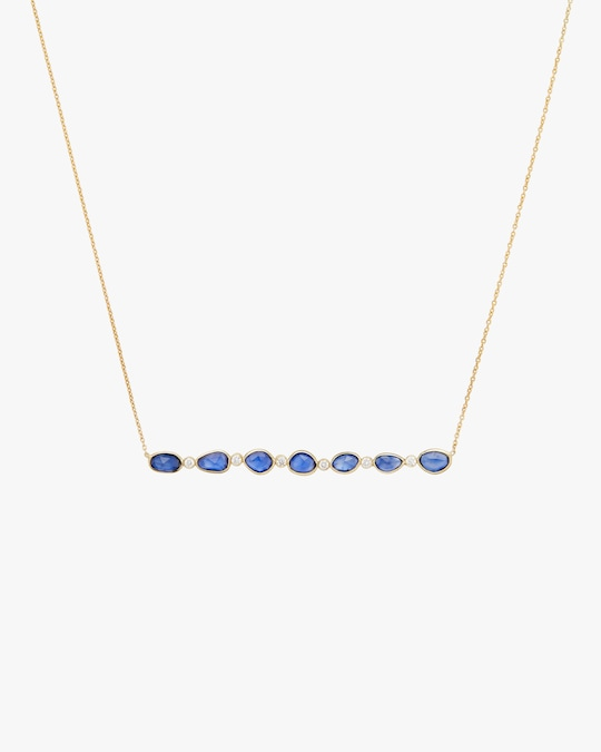 Legend Amrapali Rashmika Diamond & Blue Sapphire Bar Necklace 0