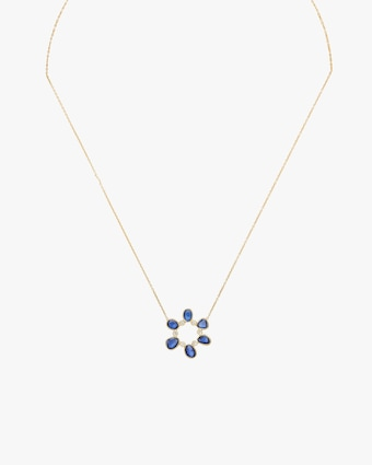 Rashmika Diamond & Blue Sapphire Circle Pendant Necklace