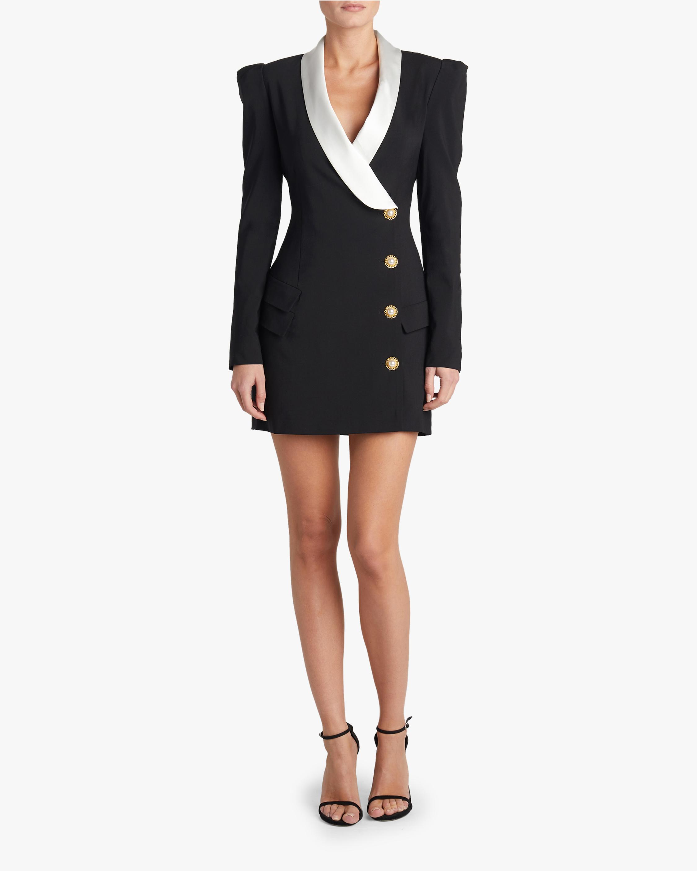 Korinne Tropical Wool Tuxedo Dress