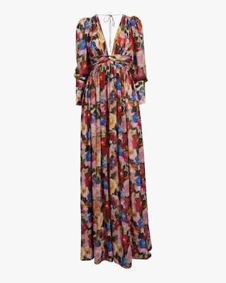 Carmella Painterly Floral Chiffon Maxi Dress