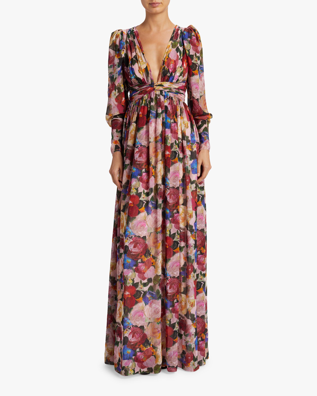 Carmella Painterly Floral Chiffon Maxi Dress
