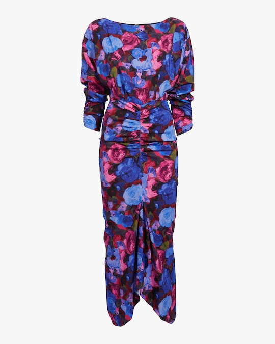 Ronny Kobo Emilia Painterly Floral Midi Dress 0