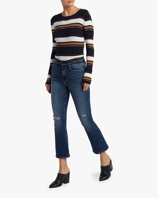 Frame Le Cropped Mini Boot Block Frayed Jeans 1
