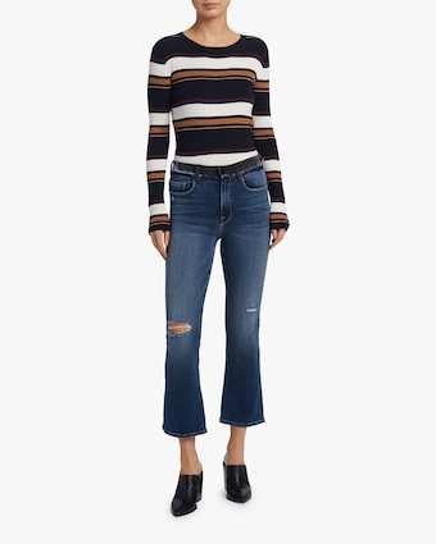 Panel Stripe Crewneck Sweater