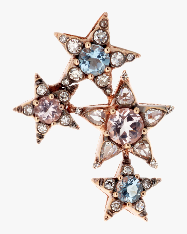 Singular Diamond and Aquamarine Earring