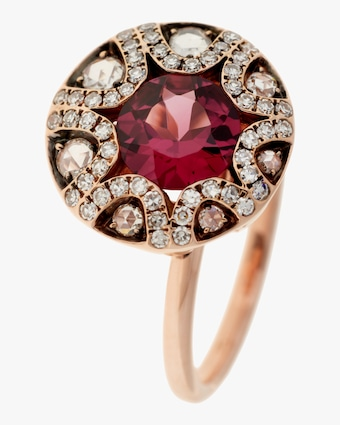 Diamond and Rhodolite Ring