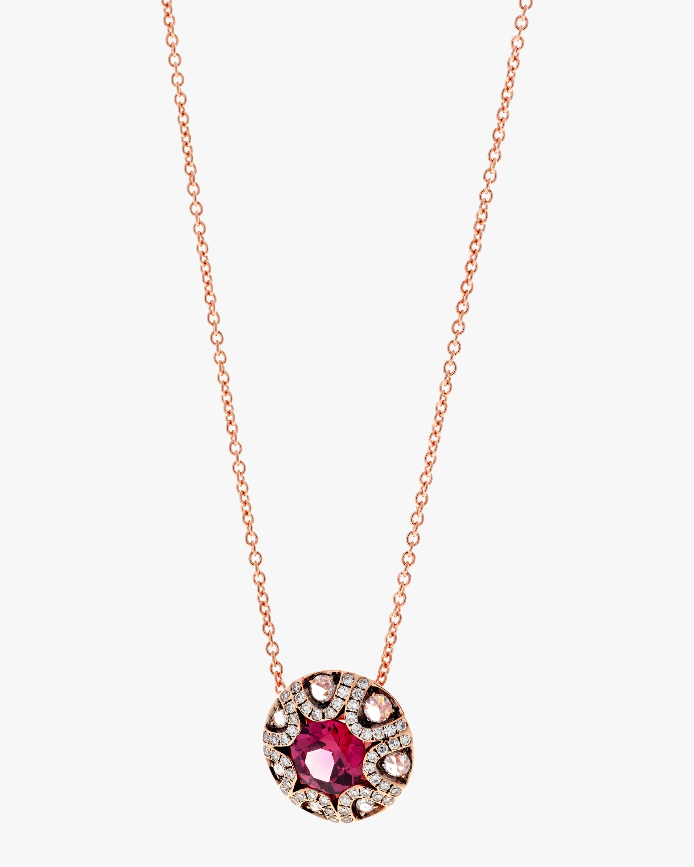 Diamond and Rhodolite Pendant Necklace