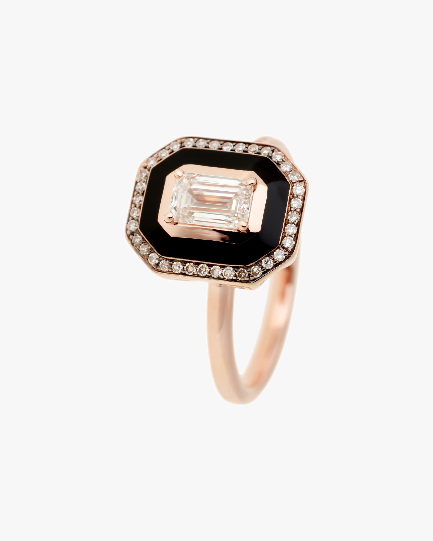 Black Enamel & Diamond Square Ring