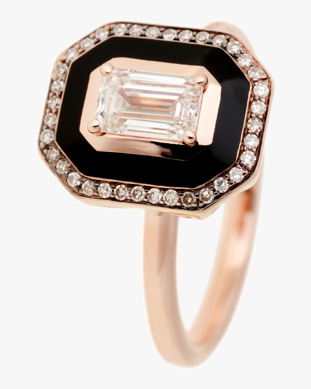Selim Mouzannar Black Enamel and Diamond Ring 0