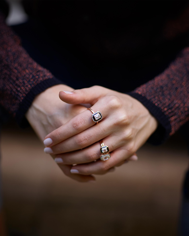 Selim Mouzannar Black Enamel and Diamond Ring 1