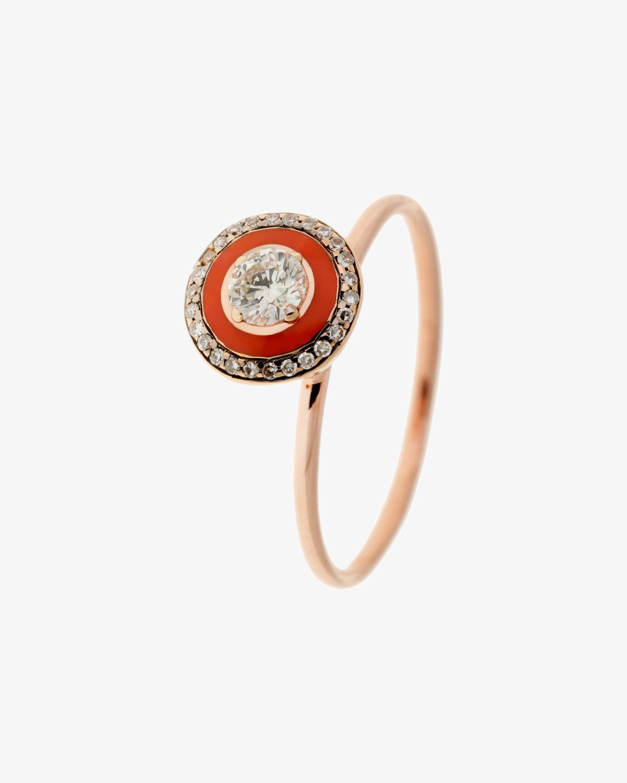 Selim Mouzannar Coral Enamel & Diamond Ring 2