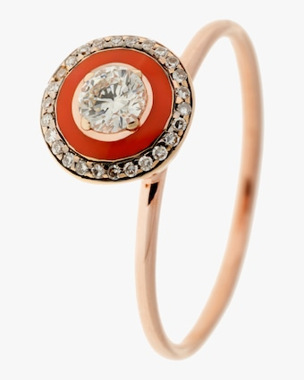 Coral Enamel and Diamond Ring
