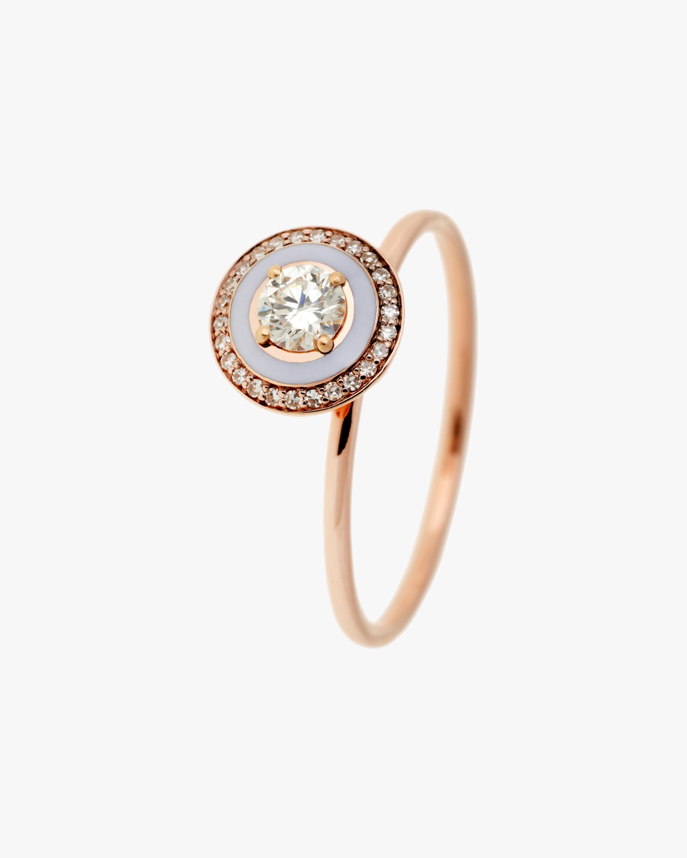 Lilac Enamel & Diamond Ring