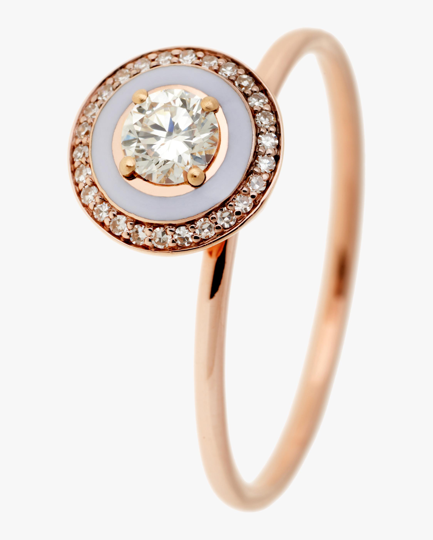 Lilac Enamel and Diamond Ring