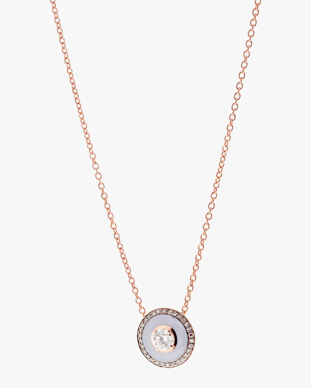 Lilac Enamel and Diamond Pendant Necklace