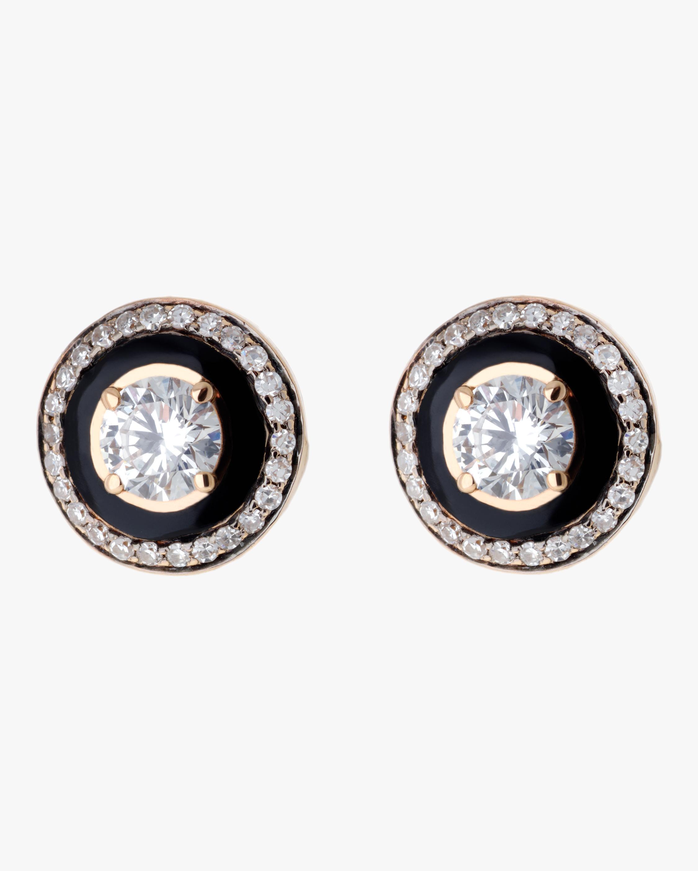 Selim Mouzannar Black Enamel and Diamond Earrings 0