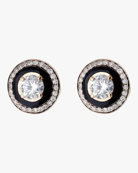 Black Enamel and Diamond Earrings